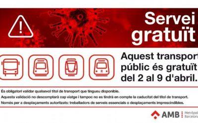 Transport públic gratuït per a persones que fan activitats i serveis essencials