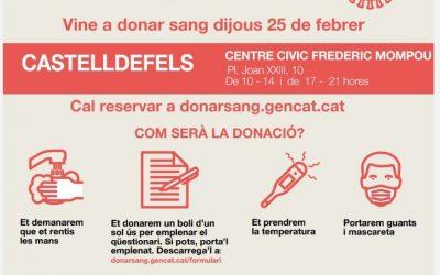 Castelldefels acoge este jueves una nueva campaña de donación de sangre