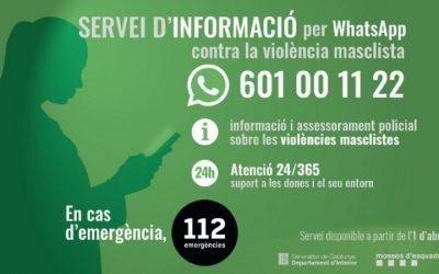 El 601 00 11 22, nou canal d'informació i assessorament contra la violència masclista per whatsapp